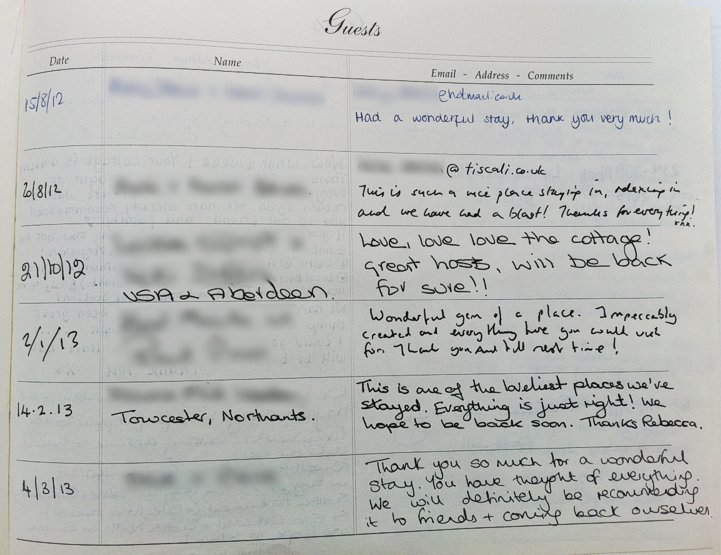 Holyrood Cottage reviews from guestbook page 1