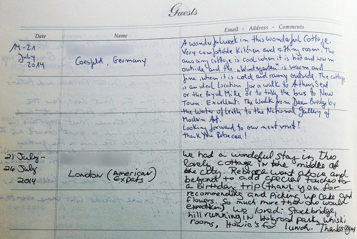 Holyrood Cottage reviews from guestbook page 10