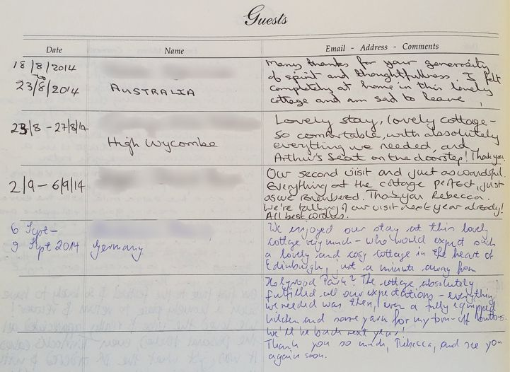 Holyrood Cottage reviews from guestbook page 12