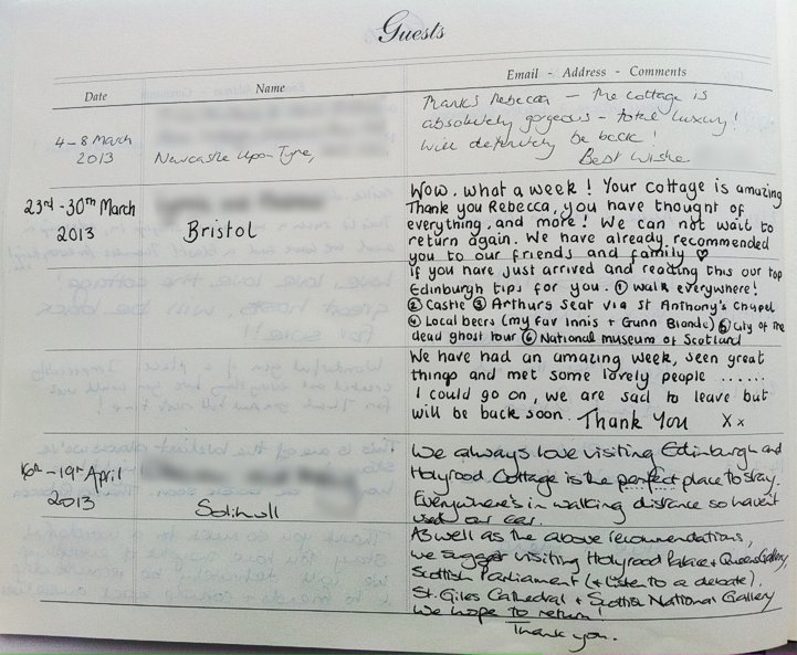 Holyrood Cottage reviews from guestbook page 2