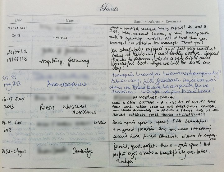 Holyrood Cottage reviews from guestbook page 3