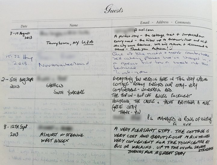 Holyrood Cottage reviews from guestbook page 4