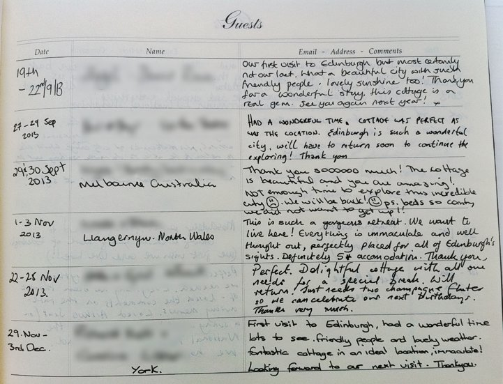 Holyrood Cottage reviews from guestbook page 5