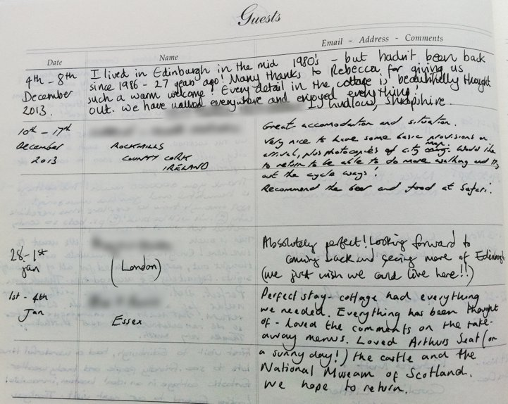 Holyrood Cottage reviews from guestbook page 6