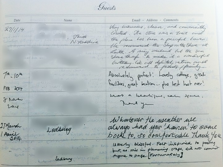 Holyrood Cottage reviews from guestbook page 7