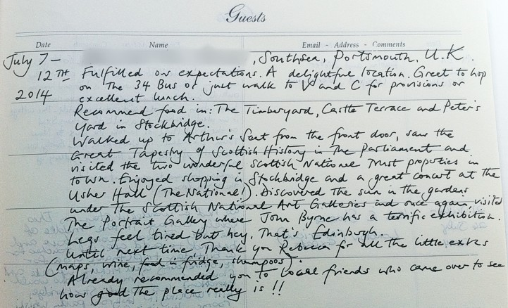 Holyrood Cottage reviews from guestbook page 9