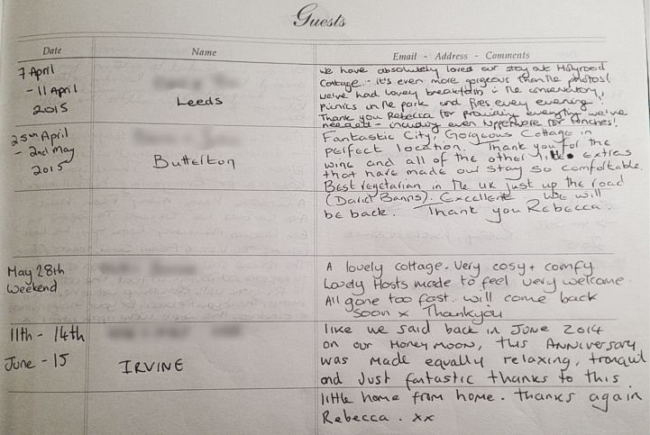 Holyrood Cottage reviews from guestbook page 13