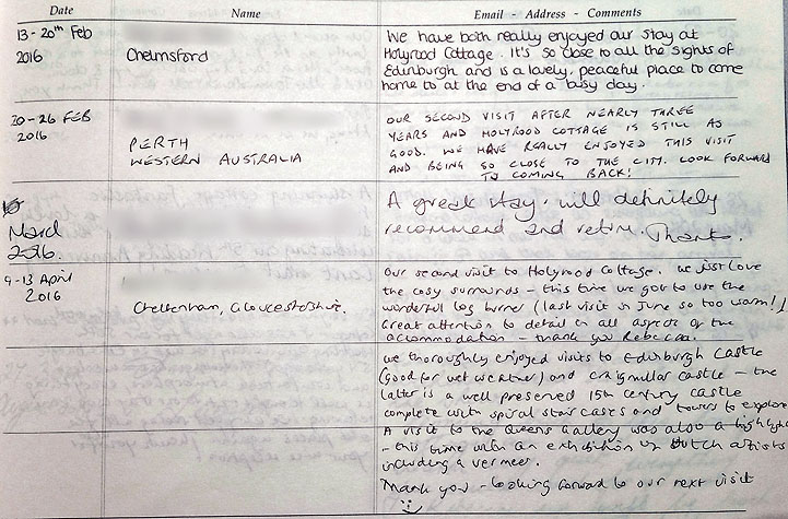Holyrood Cottage reviews from guestbook page 11