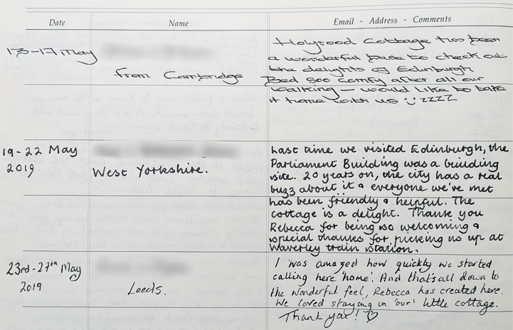 Holyrood Cottage reviews from guestbook page 14